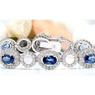10.58 CTW Natural Sapphire 18K Solid White Gold Diamond