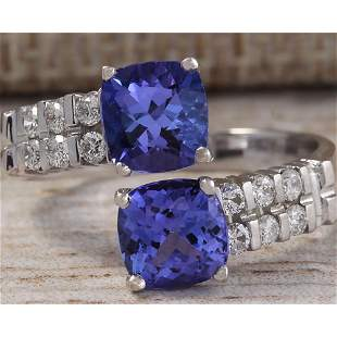 3.33 CTW Natural Blue Tanzanite And Diamond Ring In 18K