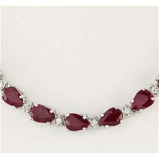 49.20 CTW Natural African Ruby And Diamond Necklace In