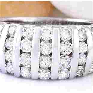 1.55 CTW Natural Diamond 18K Solid White Gold Ring