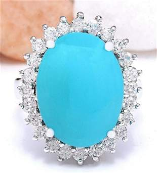 8.32 CTW Natural Turquoise 18K Solid White Gold Diamond