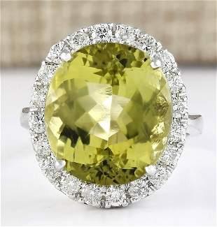 12.16 CTW Natural Yellow Beryl And Diamond Ring 18K