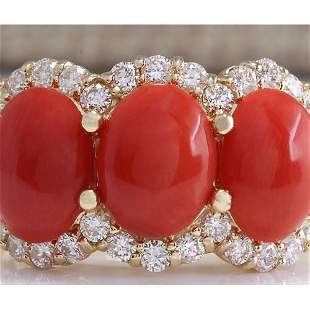 5.30CTW Natural Red Coral And Diamond Ring 18K Solid