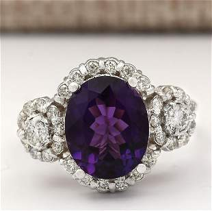 4.42 CTW Natural Amethyst And Diamond Ring In 18K White