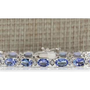 11.35CTW Natural Tanzanite And Diamond Bracelet In 18K