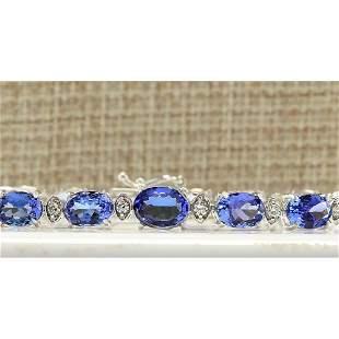 11.80 CTW Natural Tanzanite And Diamond Bracelet In 14k