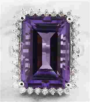 7.50 CTW Amethyst 18K White Gold Diamond Ring