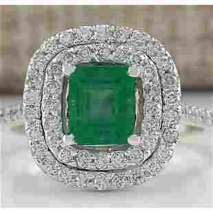 2.00 CTW Natural Colombian Emerald And Diamond Ring In