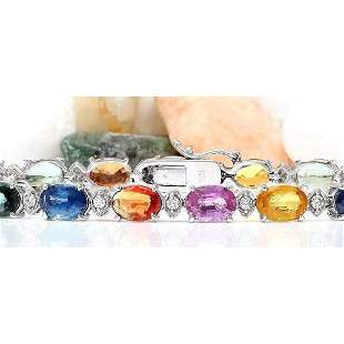 17.43 CTW Natural Sapphire 18K Solid White Gold Diamond