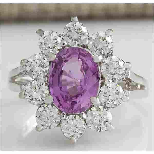 2.77 CTW Natural Pink Ceylon Sapphire Diamond Ring 18K