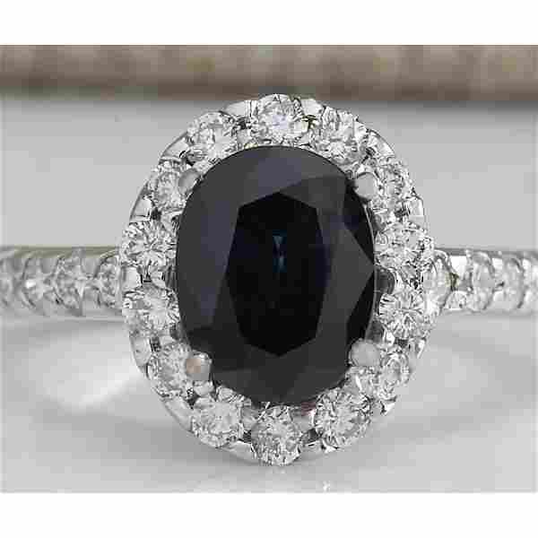 3.11 CTW Natural Blue Sapphire Diamond Ring 18K Solid