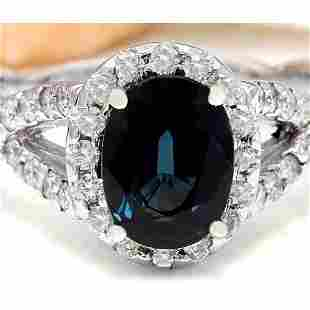 2.80 CTW Natural Sapphire 14K Solid White Gold Diamond