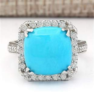 6.70 CTW Natural Turquoise And Diamond Ring In 18K