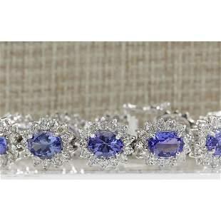 21.40 CTW Natural Tanzanite And Dimond Bracelet In 18K