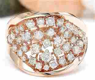 1.40 CTW Natural Diamond 14K Solid Rose Gold Ring
