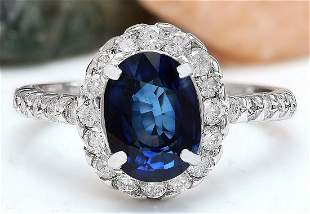 3.20 CTW Natural Sapphire 14K Solid White Gold Diamond