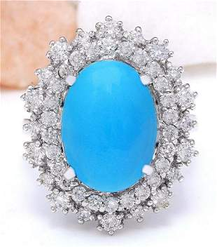 7.10 CTW Natural Turquoise 18K Solid White Gold Diamond
