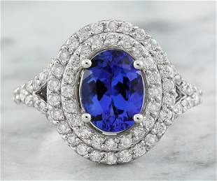 2.48 CTW Tanzanite 18K White Gold Diamond ring