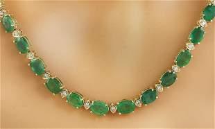 34.65 CTW Emerald 18K Yellow Gold Diamond Necklace