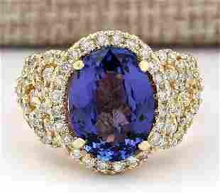 7.55 CTW Natural Tanzanite And Diamond Ring In 18K
