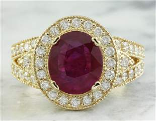 3.70 CTW Ruby 18K Yellow Gold Diamond Ring