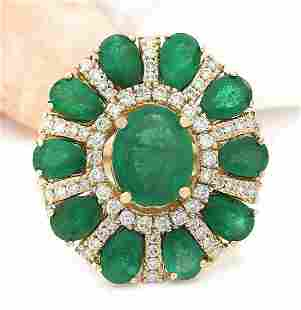 6.39 CTW Natural Emerald 14K Solid Yellow Gold Diamond