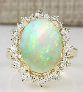 5.45 CTW Natural Opal And Diamond Ring In 18K Yellow