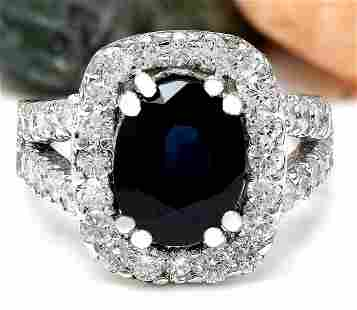 3.52 CTW Natural Sapphire 18K Solid White Gold Diamond