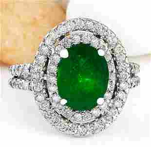 3.53 CTW Natural Emerald 18K Solid White Gold Diamond