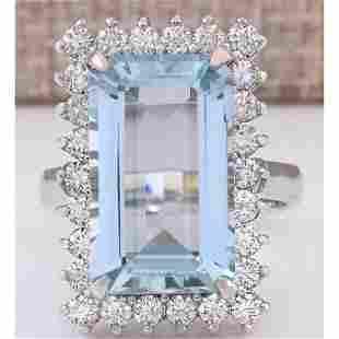 10.82 CTW Natural Aquamarine And Diamond Ring In 18K