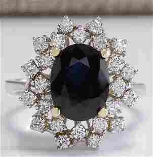 4.83 CTW Natural Blue Sapphire Diamond Ring 14K Solid