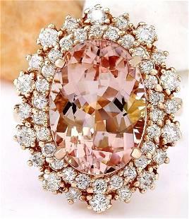8.15 CTW Natural Morganite 14K Solid Rose Gold Diamond