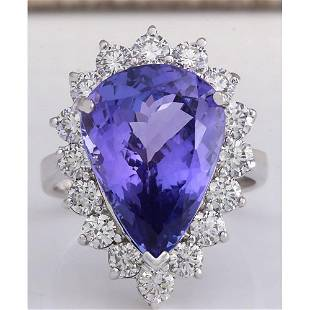 10.06CTW Natural Blue Tanzanite And Diamond Ring In 14K