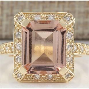 5.56 CTW Natural Morganite And Diamond Ring In 18K