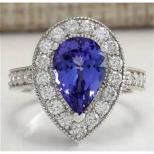 4.78 CTW Natural Blue Tanzanite And Diamond Ring 14K
