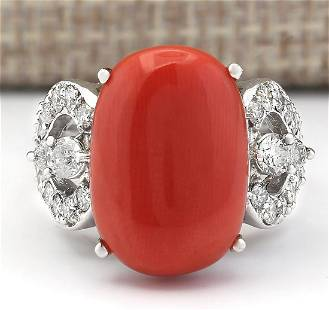 10.20 CTW Natural Coral And Diamond Ring In 14k White