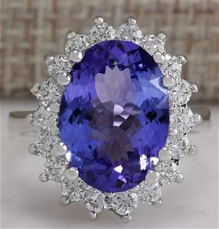 6.80 CTW Natural Blue Tanzanite And Diamond Ring 18K