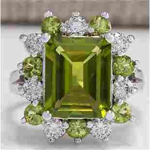 4.97 CTW Natural Green Peridot And Diamond Ring 14K