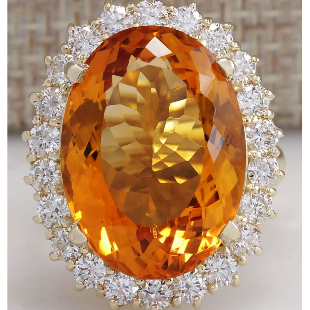 17.91 CTW Natural Citrine And Diamond Ring In 18K Solid
