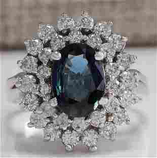 3.33 CTW Natural Blue Sapphire Diamond Ring 18K Solid