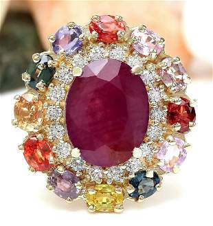 9.11 CTW Natural Ruby, Sapphire 14K Solid Yellow Gold