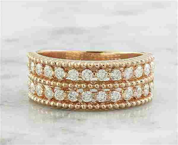 0.66 CTW Two Row Diamond 14K Rose Gold Ring