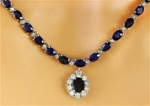 48.83 CTW Natural Sapphire 18K Solid White Gold Diamond