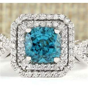 5.46 CTW Natural Blue Zircon And Diamond Ring 14k Solid