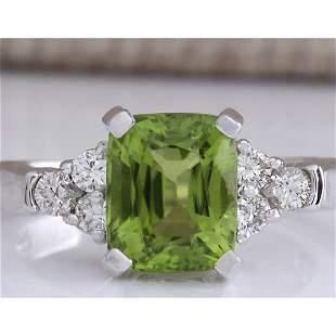 3.38 CTW Natural Green Peridot And Diamond Ring 14K