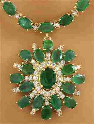 41.20 CTW Emerald 14K yellow Gold Diamond Necklace