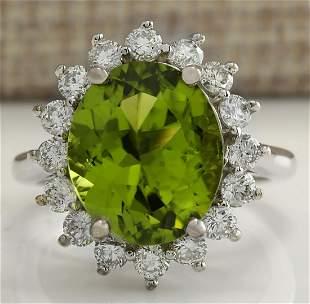 7.59 CTW Natural Peridot And Diamond Ring 18K Solid