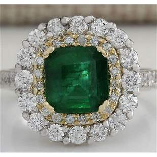 2.88CTW Natural Emerald And Diamond Ring 14K Solid