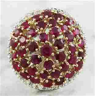 6.20 CTW Ruby 14K Two Tone Gold Diamond Ring