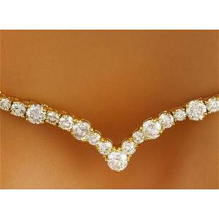 14.10 CTW Natural Diamond 18K Solid Yellow Gold